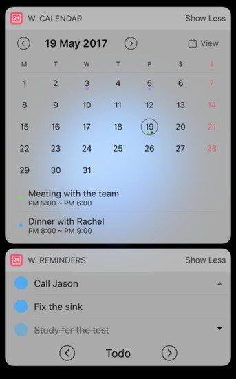 Widget Calendar ios